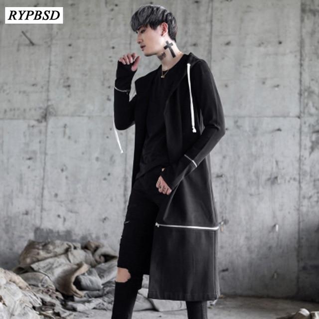 2019 New Men High Street Fashion Hip Hop Hooded Men Trench Coat Punk
