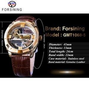 Image 3 - Forsining Double face Transparent doré lunette marron cuir ceinture hommes montre automatique Top marque luxe mécanique squelette horloge