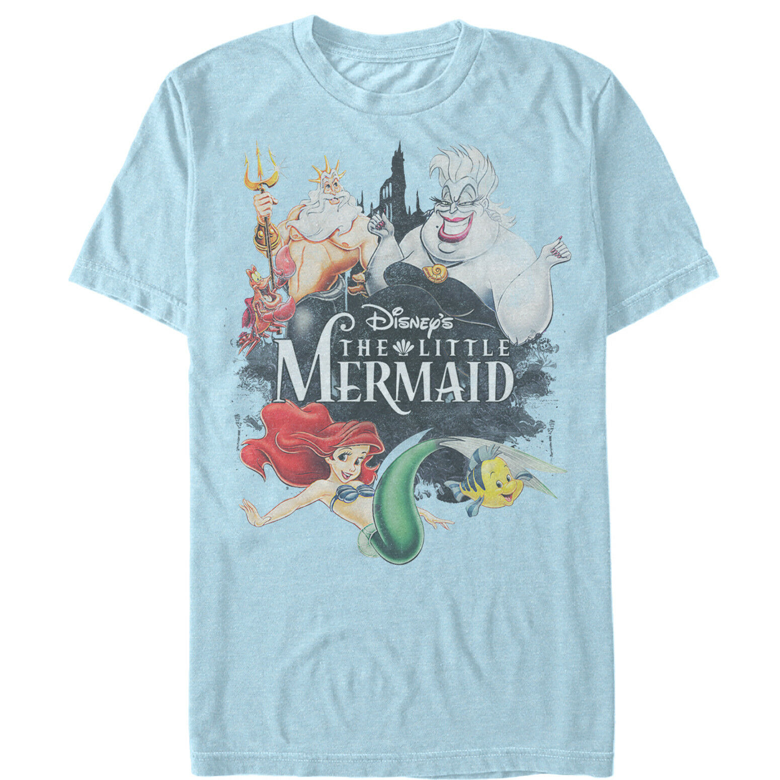 The Little Mermaid Vintage Characters Mens Graphic   T     Shirt