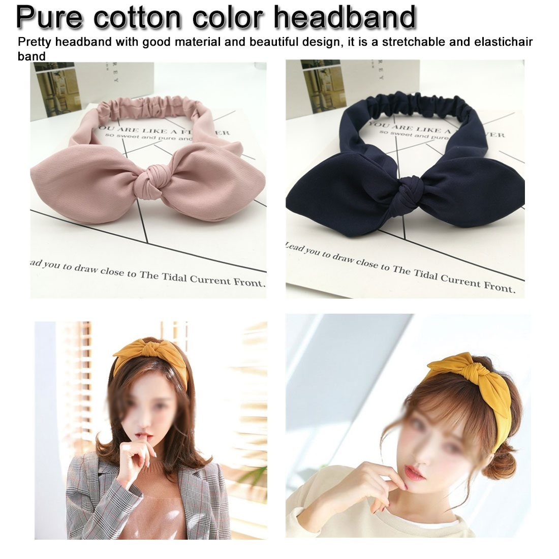Fashion Korean Print Cute Ears Solid Bow Knotted Hairbands Bezel Turban Women Headbands Girls Hair Accessories