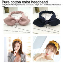 Hair Accessories Women Cotton Solid Color Headband Lady Girls Cute Ears Hairband Rabbit Ear Hair Bands jrfsd solid color knotting headband cotton material hair accessories suitable for 0 7 year old kid hair bands for girls headwear