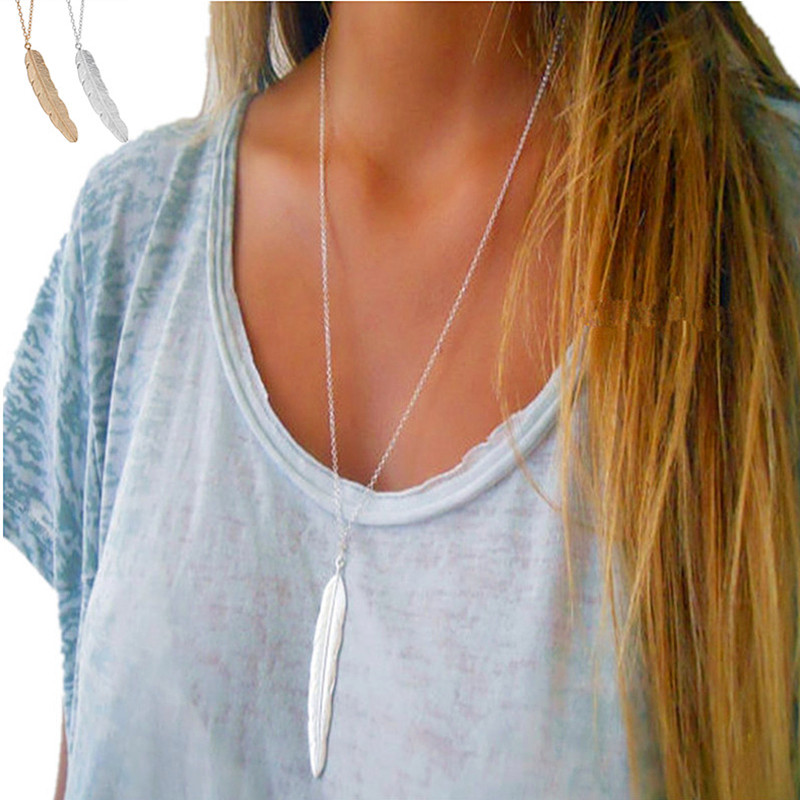 2019 Fashion Women Vintage Long Necklace Jewelry Silver Gold Color Simple Feather Pendant Necklaces Leaves Colar Jewelry Gift Ювелирное изделие