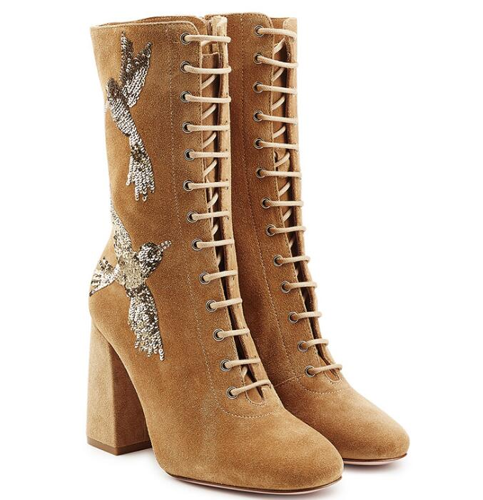 Fashion Camel Suede Leather Women Round Toe Mid-Calf Boots Glitter Birds Side Ladies Lace Up Boots Kngith Style Chunky Heel Boot round toe suede lace up mens boots