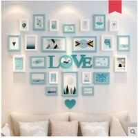 25 шт. изображение скандинавском стиле настенные рамки для фото Комбинации набор любовь деревянной стене гостиной Комбинации Винтаж DIY фото