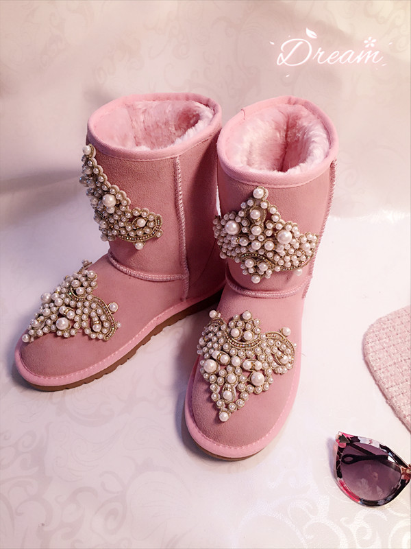 Creative European Winter Autumn New Handmade Sparkle Bling Pearls Flat Keep Warm Round Head Genuine Leather Pink Girl Snow Boots