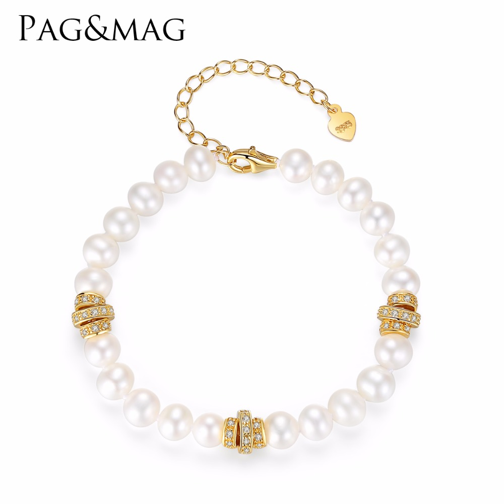 PAG&MAG BrandFreshwater 100% Natural White  Pearl Bracelet Women Bracelet With Pearls Jewelry 925 Sterling Silver Christmas GiftPAG&MAG BrandFreshwater 100% Natural White  Pearl Bracelet Women Bracelet With Pearls Jewelry 925 Sterling Silver Christmas Gift