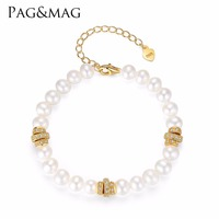 PAG&MAG BrandFreshwater 100% Natural White Pearl Bracelet Women Bracelet With Pearls Jewelry 925 Sterling Silver Christmas Gift