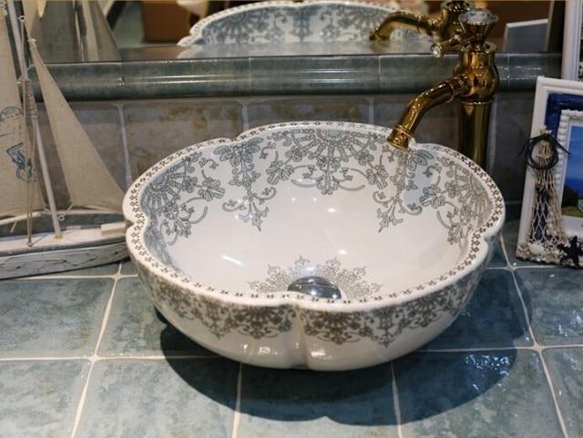 Europe Style Flower Shape Handmade Lavabo Ceramic Washbasin Artistic  Bathroom Sink Countertop Porcelain Washbasin