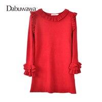 Dabuwawa Red Christmas Dress Winter Vintage Ruffle Dress Casual Knitting Sweater Dress Vestidos