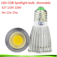 50X High Power E27 9W 12W 15W85 265V Dimmable CREE Led COB Spotlights Warm/Natural/Cool White e27 downlight LED lamp light