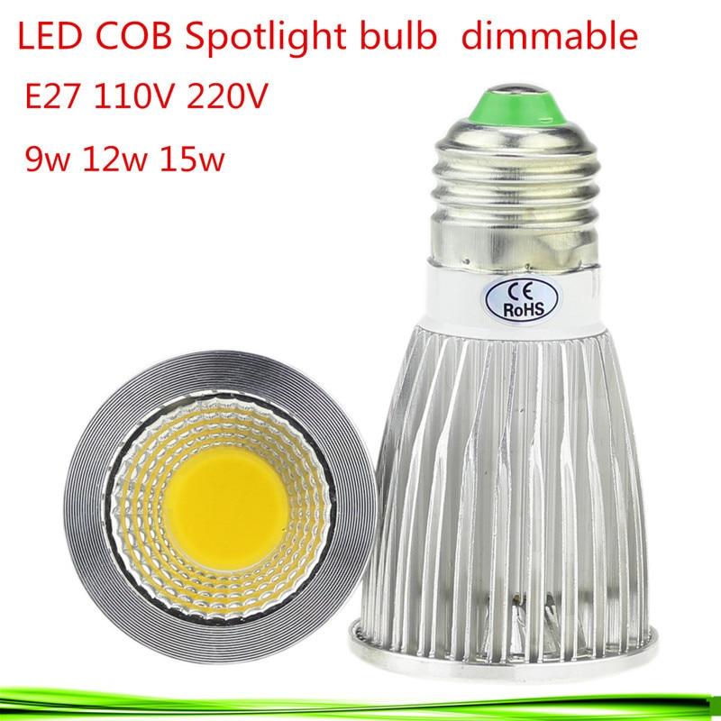 50X haute puissance E27 9 W 12 W 15W85-265V Dimmable CREE LED COB projecteurs chaud/naturel/blanc froid e27 downlight lampe à LED lumière