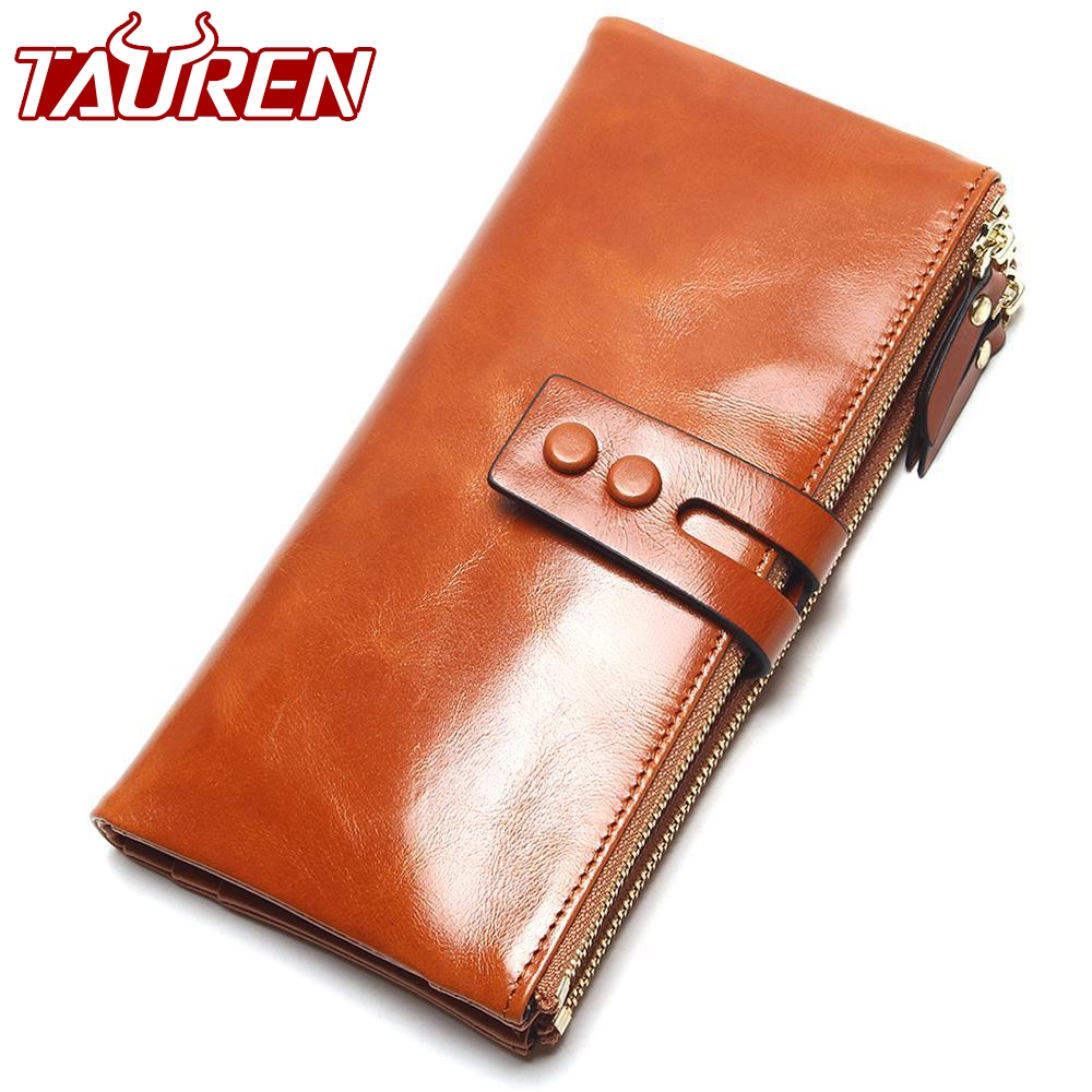 2018 New Fashion Women Oil Wax Wallets Female Genuine Leather Womens Wallet Zipper Design Women's Purse Ladies Long Phone Holder genuine leather oil wax women wallet ladies day clutches with 2 zipper cowhide leather long purse female wallets designer famous