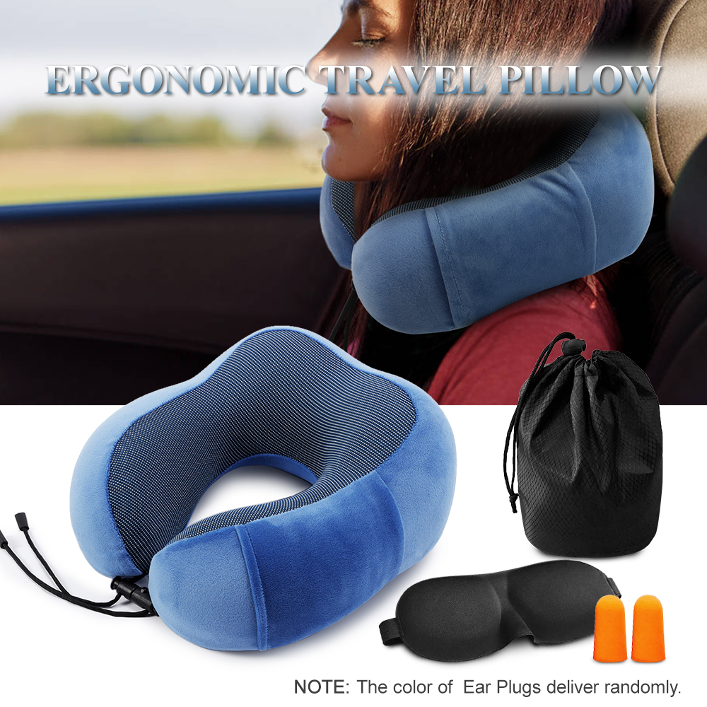 Image 5 - Travel Pillow Memory Foam Neck Pillow Outdoor Tool Neck Head Support Pillow with Waterproof Travel Bag Eye Mask Outdoor Tool-in Outdoor Tools from Sports & Entertainment