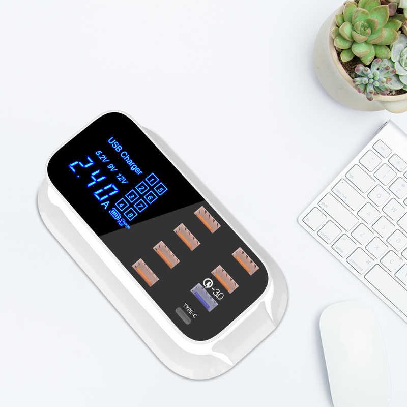 Портативный зарядное устройство usb multi Desktop Quick Charge 3,0 станция для зарядки с usb док-станция для Светодиодный Дисплей Смарт Тип usb C 8 Порты Зарядное устройство концентратор