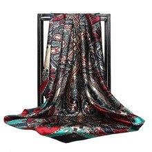 Women Scarves Silk Scarf Print Satin 90x90cm Square Female Wrap Shawl Bandana Head Large Hijab For A25