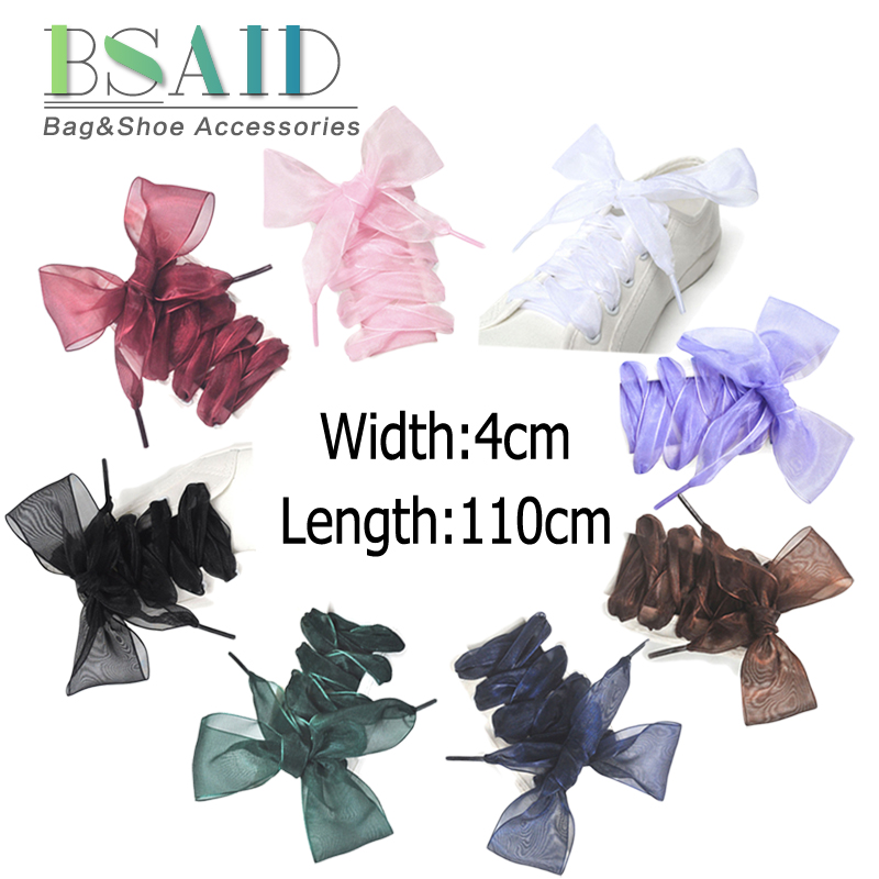 BSAID 1 Pair Ribbon 110cm Shoe Laces,110cm Silk Satin Women Shoelaces Shoestrings, Fashion Transparent Flat Shoelace Sneakers mydyicat 8 110cm