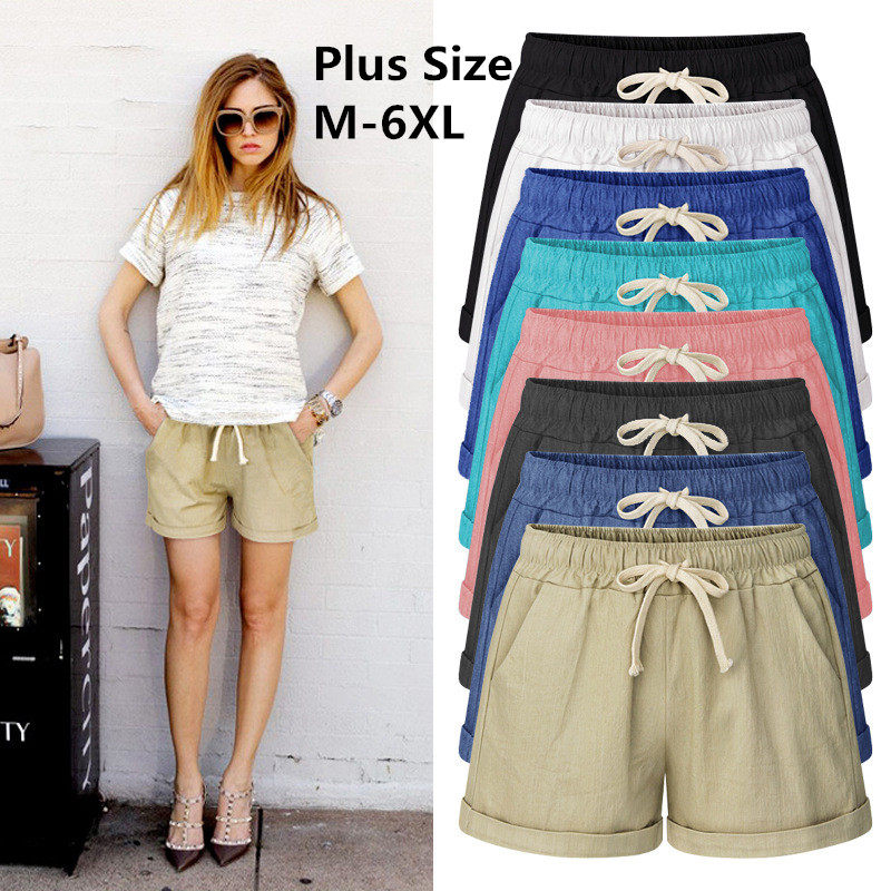 2019 Summer Cotton Shorts Women Fashion Casual Large Size Short Pants Loose Slim Female Shorts Plus Size M-7XL