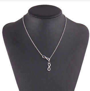 silver Colour Simple hollow owl lucky Infinity 8 Geometric triangle cross necklace wholesale pendant Necklace for Women
