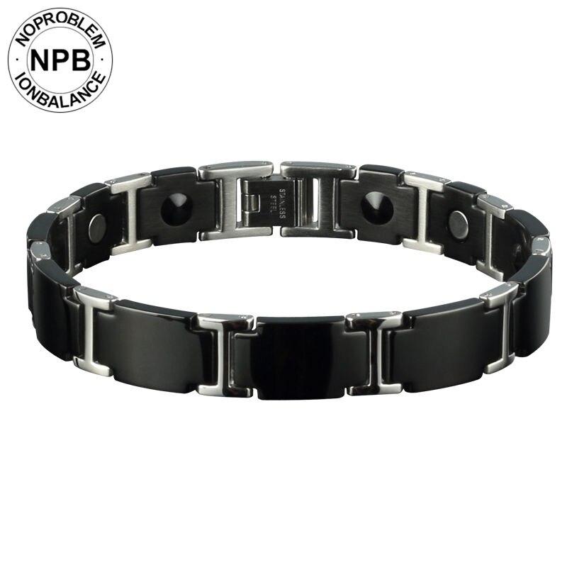 Noproblem 98 ионный Antifatigue Магнитная мощность колье Единорог био бусы Black Metal Турмалин германий браслет для мужчин
