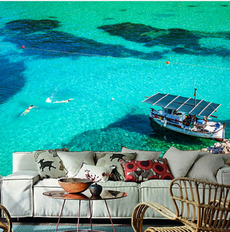 The custom 3D murals,Spain Sea Motorboat San Miguel Ibiza Nature wallpapers , living room sofa TV wall bedroom wall paper