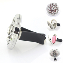 38mm Magnetic Stainless Steel Car Aroma Perfume Locket With Crystal Essential Oil Diffuser Lockets 5pcs