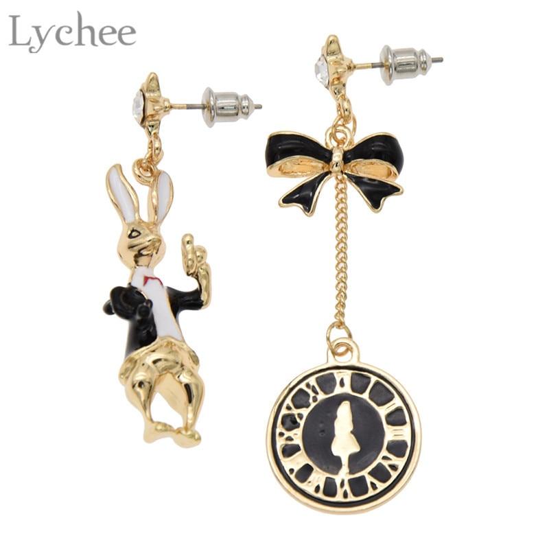 Lyvchee Asymmetric Rabbit Bow Tie Dangle Earring Rhinestone Drop Earring Punk Luxuries Women Jewelry