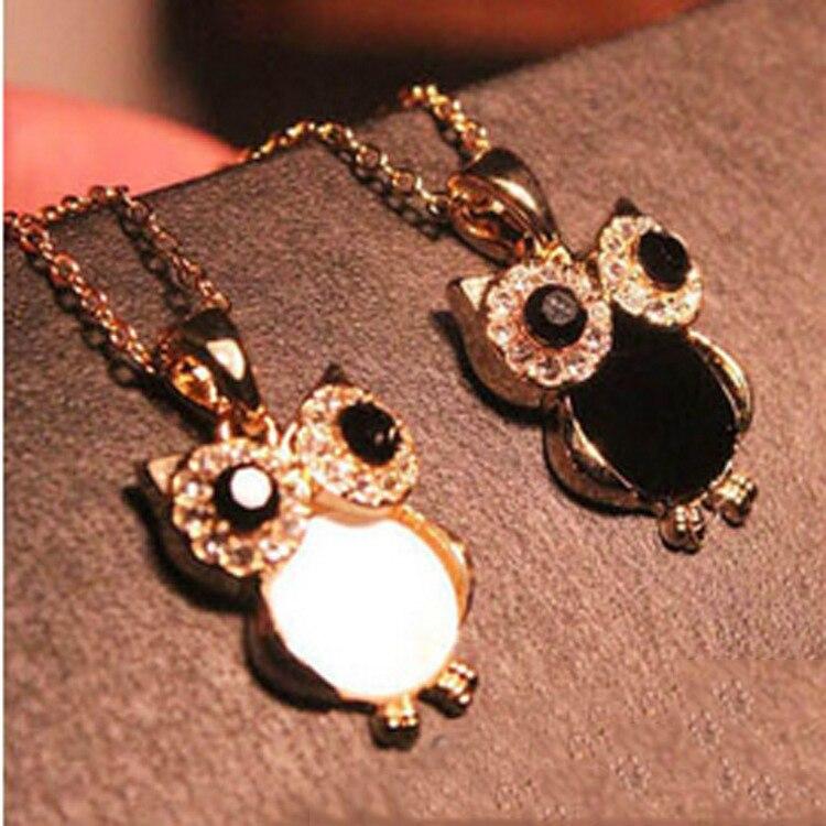 Vintage Owl Design Rhinestones Crystal Pendant Necklaces 3