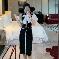 Summer Dress New Fashion 2019 Women's Peter Pan Collar Puff Sleeve Bow Patchwork Pearl Button Elegant Knee length Black Dress