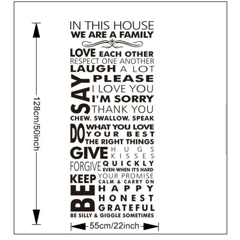 New Wall Art House Rules Letters Living Room Wall Quotes Bedroom Decals Art  Decor Family Decal Lovely DIY Home Decoration Fences In Wall Stickers From  Home ...