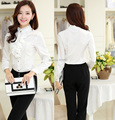 New Arrival Elegant White 2015 Fashion Autumn Winter Career Blouses Suits With Pants For Office Lady Work Wear Uniforms Style