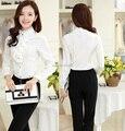 Nueva llegada elegante blanco 2015 moda otoño invierno carrera blusas trajes con pantalones para Office Lady ropa de trabajo uniformes estilo
