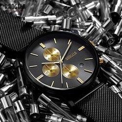 Baogela masculino chronograph lulminous mãos quartzo relógios de pulso malha cinta data indicador mostrador fino relógio para o homem BGL1611G-22