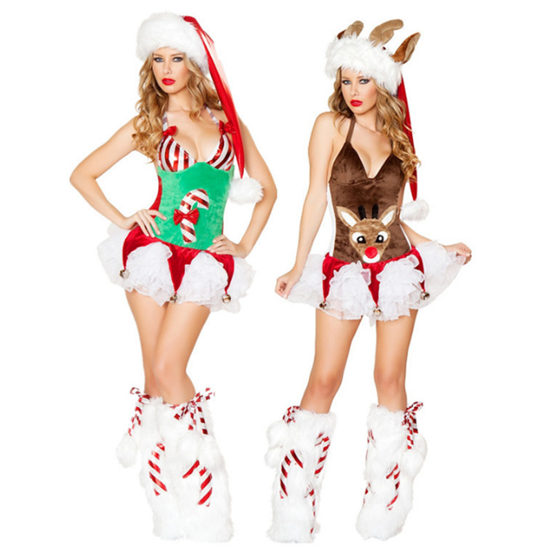 high quality Sexy Christmas reindeer animal cosplay costume bells night club show DS costumes Europe United women Xmas