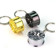 10/pc New Design Cool Luxury metal Keychain Car Key Chain Key Ring creative wheel hub chain For Man Women Gift