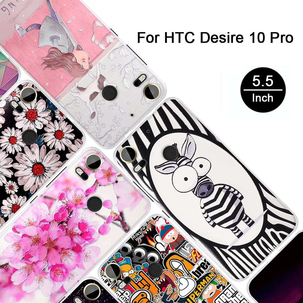 "3D Pattern Case For HTC Desire 10 Pro 5.5"" Printing Painted Cover For HTC Desire 10 Pro Back Soft TPU Phone Cases Relief Shells"