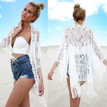 Women Summer Lace Tassel Crochet Bikini Cover Up Solid White long Sleeve Swimwear Beach Top Kaftan Caidigan  Cover-Ups