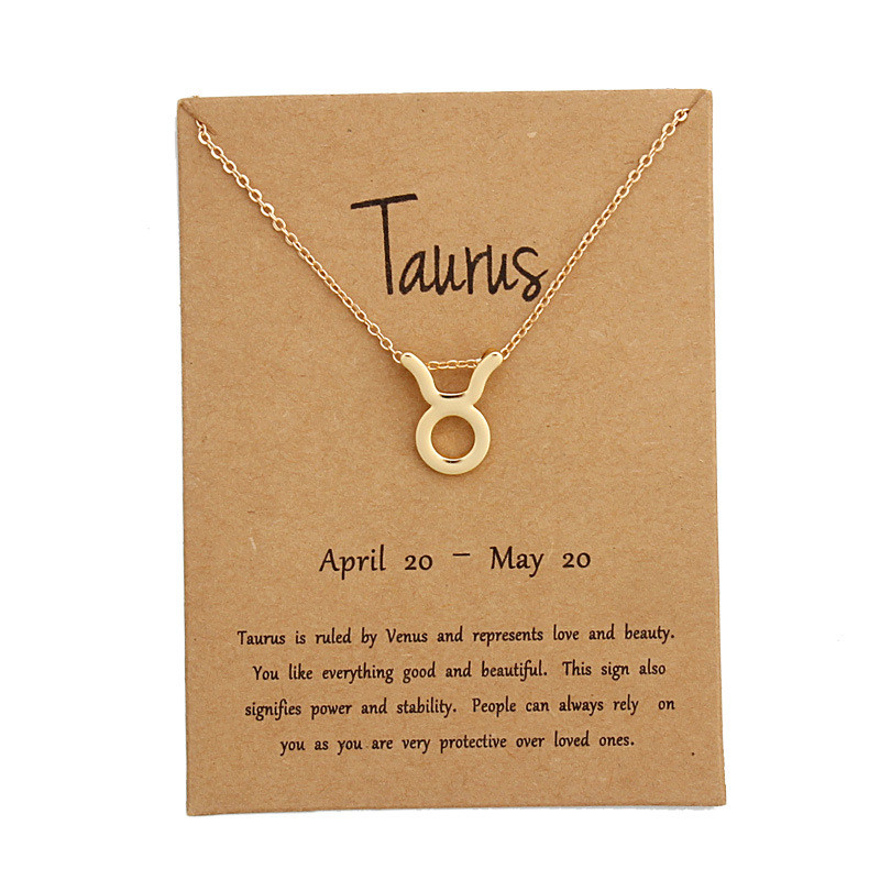 Fashion 12 Constellation Pendant Necklaces Aries Capricorn Taurus Necklace Birthday Gifts Message Card for Women Girl Jewelry