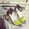 2016 de moda de verano zapatos de tacón alto peep toe strange tacones estilo leopard flock mujeres bombas venta caliente de las señoras de baile zapatos sandalias