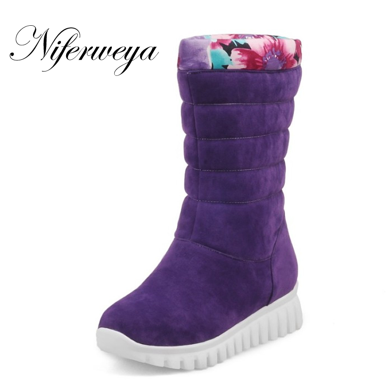 Winter purple snow boots fashion Round Toe Wedges low heel shoes big size 30-46 solid suede Slip-On Mid-Calf boots zapatos mujer ...