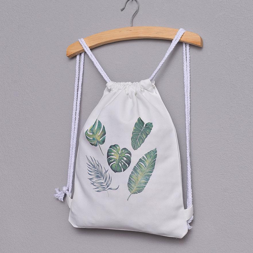 ISHOWTIENDA Drawstring Bag Cute 3D Colorful Printed Women Drawstrings Bags Fashion Women Leaves Print Drawstring Backpack Bolsa