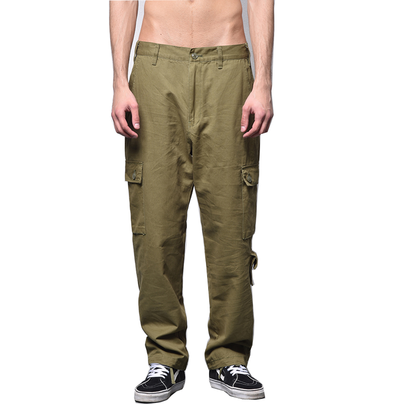 Mens Casual Pants Spring Autumn Cargo Pants Plus Size Solid Cotton High Quality Military ...