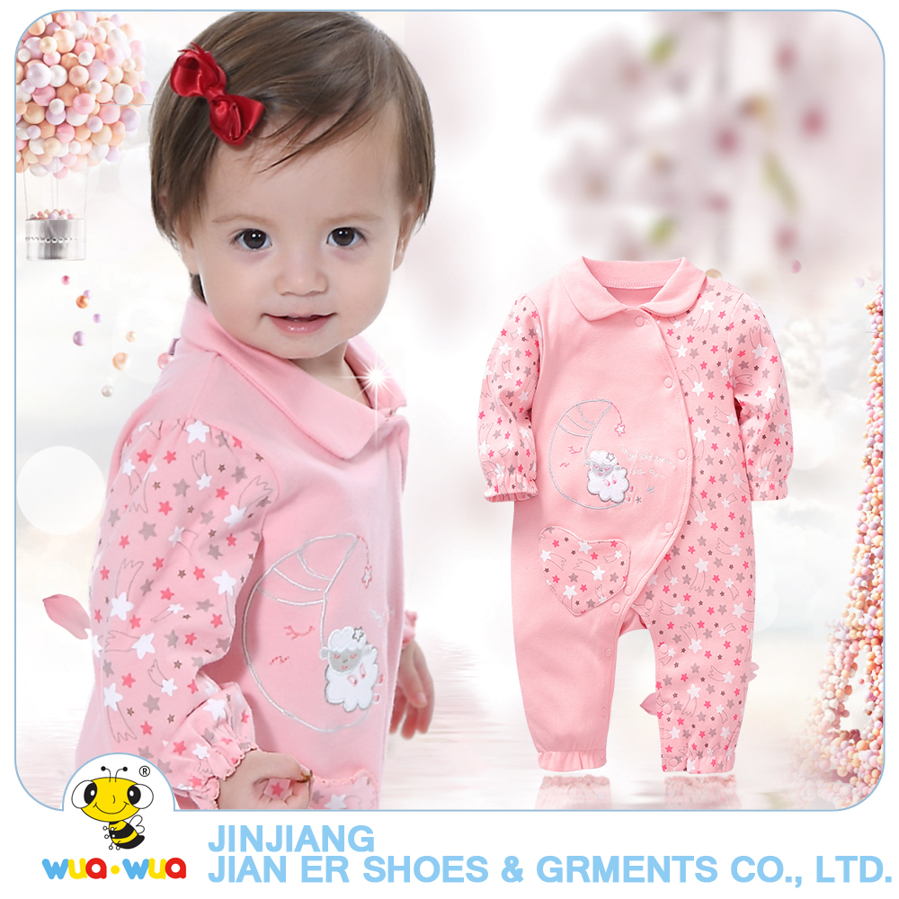 0105298583e5 Wuawua Pretty baby girl clothes long sleeve newborn baby pink romper ...