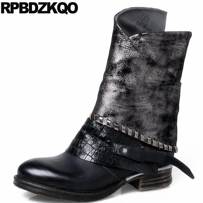 Winter 10 Side Zip Boots Women Plus Size Snake Chunky Big Black Shoes Genuine Leather Metal High Quality Round Toe Flat Mid Calf spring black coffee genuine leather boots women sexy shoes western round toe zipper mid calf soft heel 3cm solid size 36 39 38