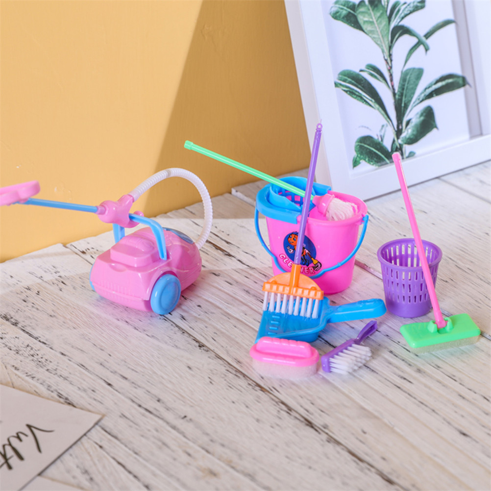 9 Pcs/set Mini Cleaning Tool Toys Set Simulation Cleaner Ware Children House Kitchen Floor Cleaning Tool Furniture Brush Toy
