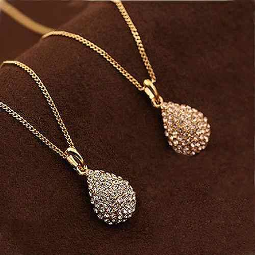 Elegant Women Girl Shiny Rhinestone Teardrop Pendant Bridal Necklace Jewelry stainless steel jewelry woman