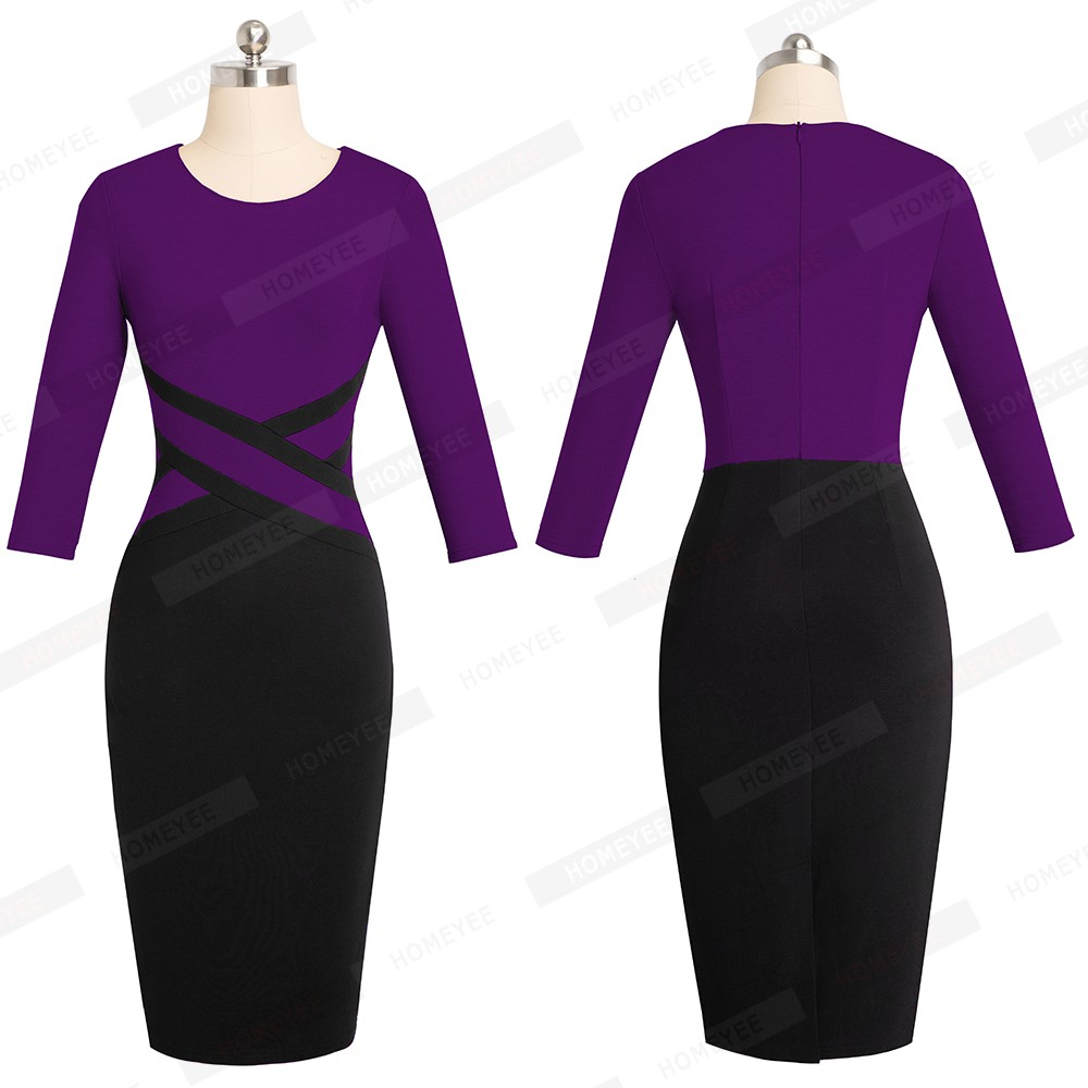Lady Patchwork Contrast Autumn Casual Business Office Dress Work Elegant Three Quarter and short Sleeve Bodycon Dress EB463 18