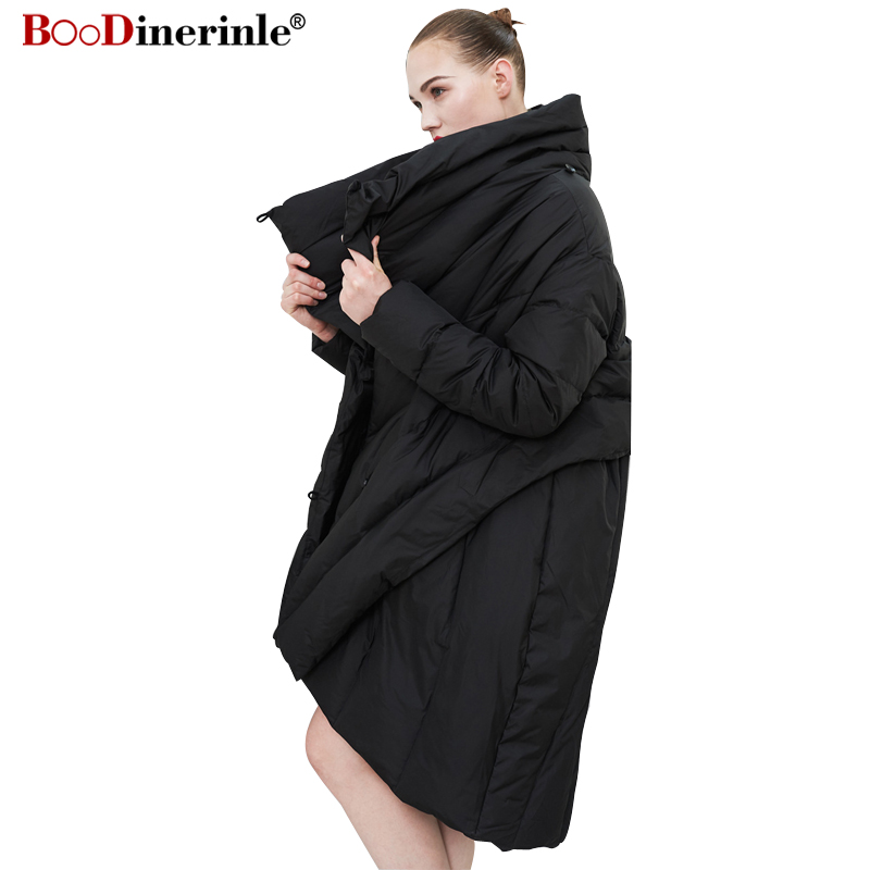 Women's Winter Black Jacket 2018 Irregular Fashion Cape Style   Down     Coat   Female Loose Warm High Collar Streetwear Parkas YR124