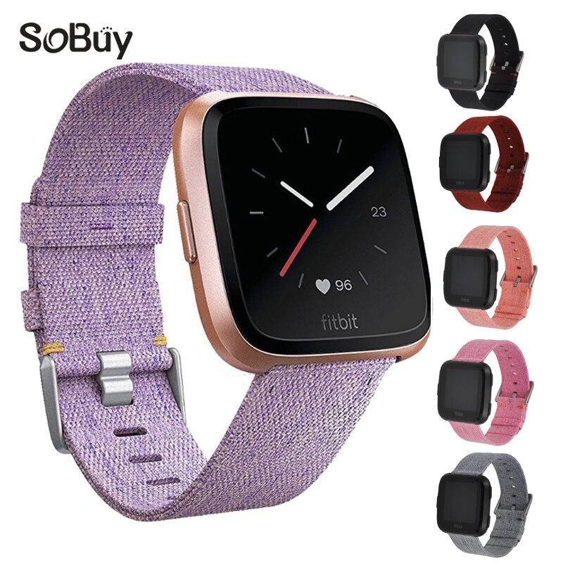 So buy man nylon sports band for fitbit versa watch bracelet versa male canvas wristband woman watchband Ms fabric wrist strap