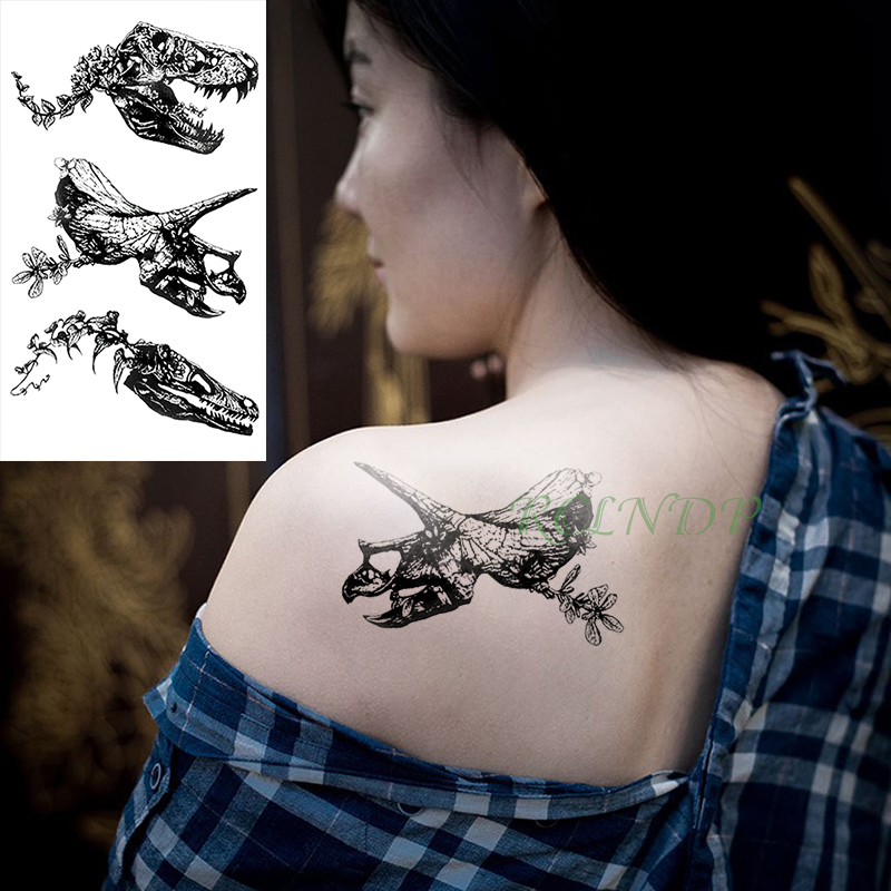 Waterproof Temporary Tattoo Sticker Dinosaur Head Tatto Stickers Flash Tatoo Fake Tattoos Arm Back Foot For Men Girl Women Kids