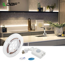 USB Rechargeable Motion Activated Bed Light, PIR Sensor & Manual mode LED Strip Under Cabinet Lighting with Auto Shut Off Timer